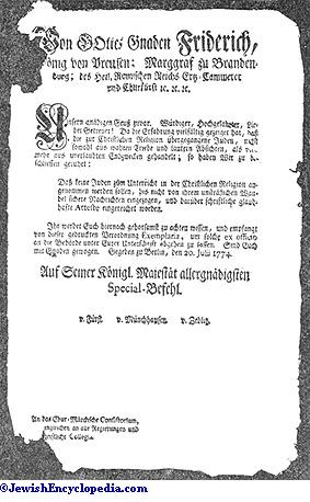 Edict Of Frederick The Great With Regard To The Conversion Of Jews.