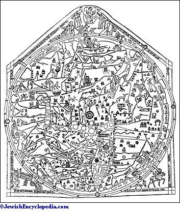 The Hereford Mappa Mundi 1280 Showing Jerusalem In Center Of World