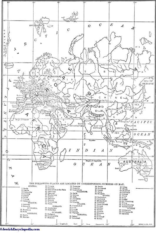 STATISTICS JewishEncyclopediacom - Map of jewish population in us