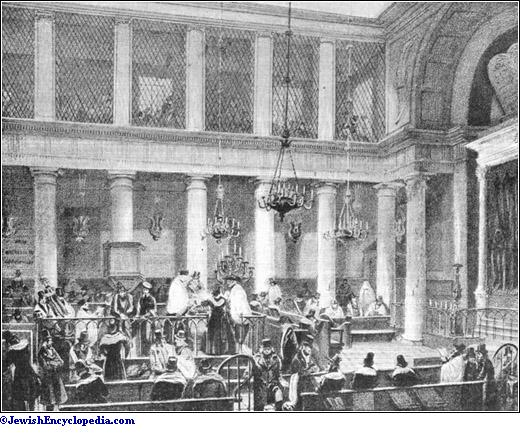 b06df1105bc Interior of a Synagogue at Paris . (From an old drawing by Marquis de  Villeneuve .